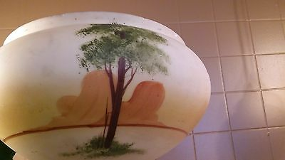 Art Deco Vintage Antique Ceiling Light Fixture Chandelier shade hand painted