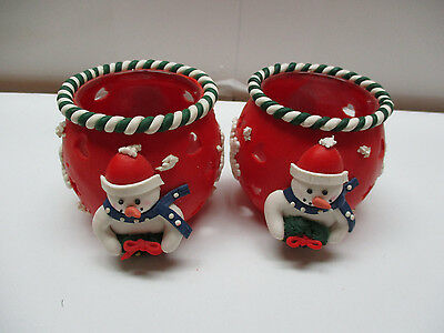 2 Beautiful Christmas Snowman Pattern Candle Holders (Red)