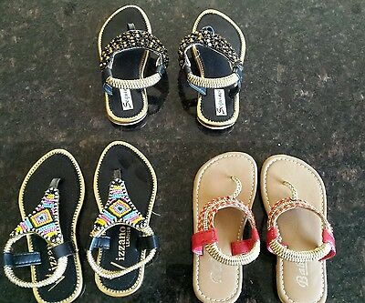 3 pairs of new very cute baby girls sandals (size 6)