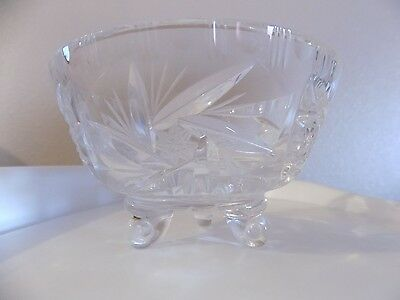 Clear Cut Etched Glass Candy Nut Dish Tri-Footed Star Of David