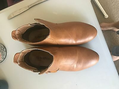 BooHoo Size 38 Brown Leather Look Ankle Boots