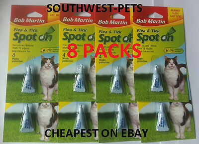 8 PACKS 1ST Class POST BOB MARTIN CAT FLEA&TICK DROPS SPOT ON TREATMENT-8 PACKS