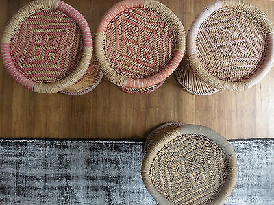 Pair of [6 in total avail] Vintage Mooda Stools Woven Cane Chair Bed Side Tables