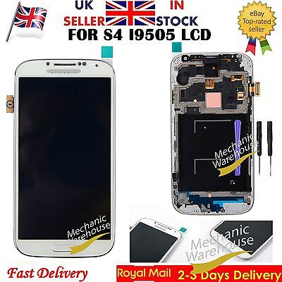 For Samsung Galaxy S4 i9505 i9508 LCD Display Touch Screen Digitizer Frame White
