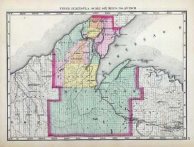 1873 Winchel MAP atlas  poster of Michigan Houghton County 72
