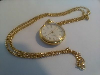 ladies quartz pocket style watch on a chain with new battery fitted