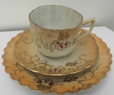 Antique Japanese Gold Gilded Porcelain Trio / Cup and Saucer