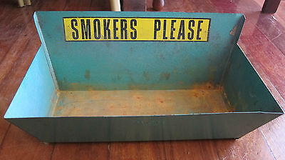 Vintage Green Metal Public Ashtray VERY RARE