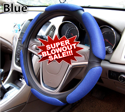 Sporty car steering wheel cover Black & Blue stitching PU leather universal 38cm