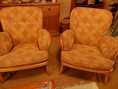 Retro Ercol Light/Blonde Elm Jubilee Armchairs
