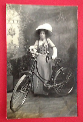 Lady With Bicycle RP Pre-1918 Postcard by W. G. Lewis, Unused