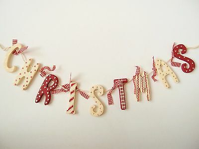 Wooden Christmas Bunting Vintage Decoration Letters