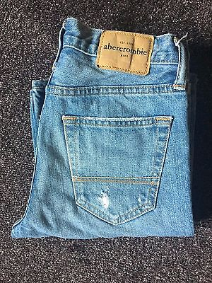 Worn Once Boys Abercrombie Jeans Dark Wash Age 14 Distressed Slim Straight