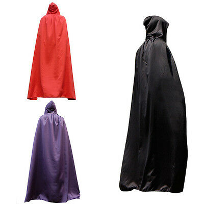 """Christmas Velour Hooded Long Cloak Adult Fancy Dress Costume Cape With Hood 65"""""""