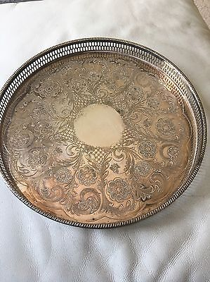 A large vintage chased silver plated gallery tray by viners of sheffield.