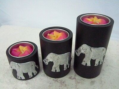 Tealight Candle Holders Mango Wood Pillar Black Aluminum Elephant Handcraft .