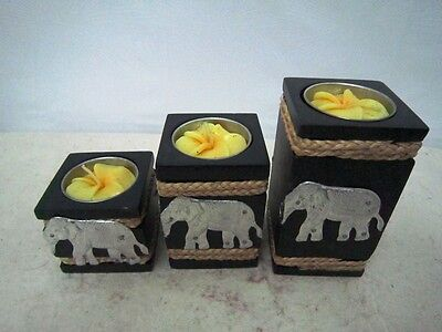 Tealight Candle Holders Wood Pillar Bark Black Rope Aluminum Elephant Handcraft