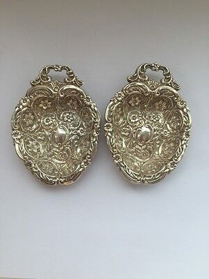 Pair Antique Solid Silver Bonbon Dishes 1876