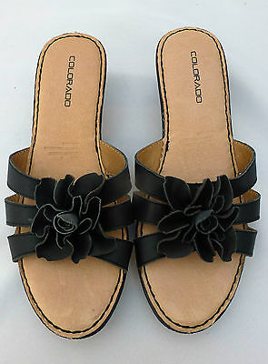 COLORADO Black leather Slip-ons, Sandals - size 9, VGC