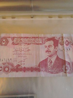 Iraq 5 Five Dinars note with picture of saddam Hussein Nice condition
