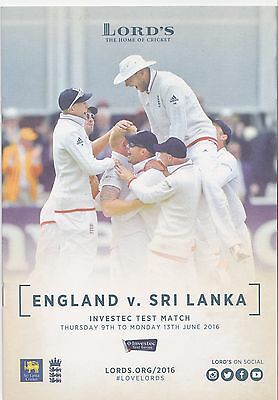 2016 cricket  Lords England Sri Lanka 11 page programme preview