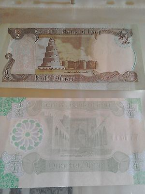 Iraq 1/2 & 1/4 Dinar notes N/M central Bank of Iraq