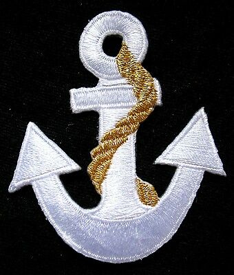 PRETTY CUTE WHITE GOLDEN ANCHOR Embroidered Iron on Patch Free Shipping