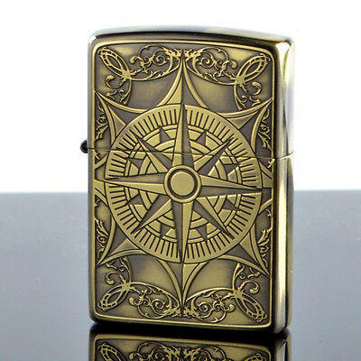 Zippo Oil Lighter Classical Compass Both Sides Etching Gold color Brass F/S