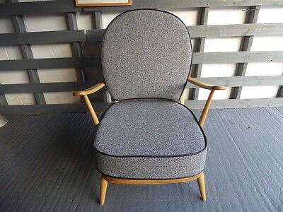Cushions & Covers Only. Ercol 203 Chair. Mid Grey Stitch with Black Piping