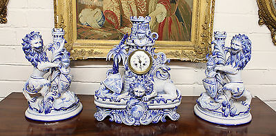 French Blue & White Lion Clock Set Signed St.clement