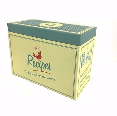 Retro Yellow Kitchen Recipe Box with Card Dividers Pantry Box