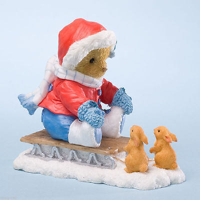 Cherished Teddies*GIRL BEAR on SLED with BUNNIES*New*NIB*Daniela*WINTER*4024342
