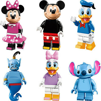6pcs Cartoon Minnie Mickey Mouse Don Donald Duck Minifigures Blocks Toys Gifts