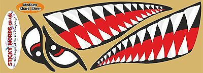 Stickers 515 Medium Sharks Teeth & Eyes stickers for Kayak Surf Belly board SUP