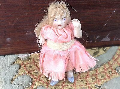 """Delightful All Bisque Miniature Antique Dolls House Doll- Tiny-2""""- 4 Dolls House"""
