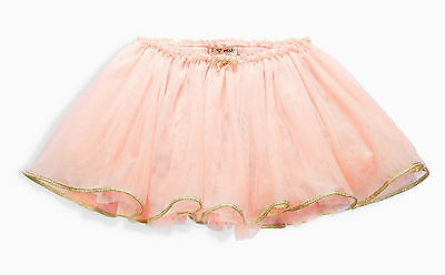 Next Girls 5-6 Years Pink Tutu Skirt Ballet Skirt Cotton Lining Gold Trim Bow *