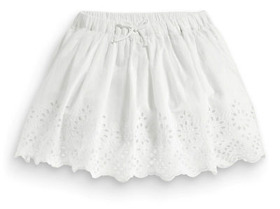 Next Girls 4-5 Years White Broderie Lace Cotton Lined Skirt *