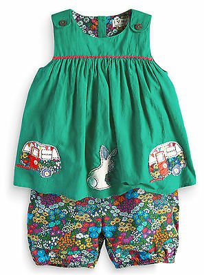 Next Girls 2-3 Years Cotton Bunny Campervan Top & Floral Shorts Outfit Set