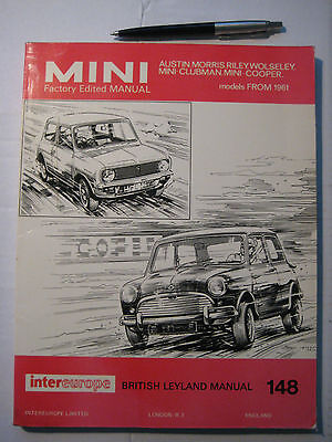 MINI BMC FACTORY EDITED WORK SHOP MANUAL   all MODELS incl. COOPER-S From 1961.