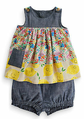 Next Girls 2-3 Years Chambray Floral Lemon Cotton Outfit Top Tunic Shorts *