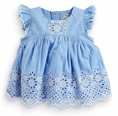 Next Girls 6-9 Months Chambray Broderie Tunic Dress Lace Cotton Blouse Top *