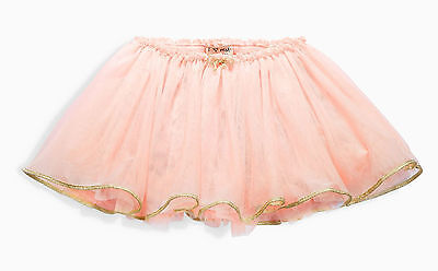 Next Girls 3-4 Years Pink Tutu Skirt Ballet Skirt Cotton Lining Gold Trim Bow *