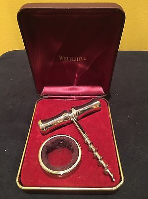 Vintage Whitehill Silver Plated Corkscrew And Collar In Original Box