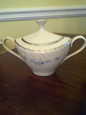 """Lenox """"Chanson"""" Fine China Sugar Bowl and Lid, Silver Trim, Hard to Find Item"""
