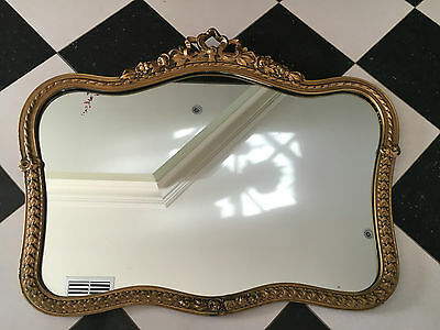 Stunning Vintage French Provincial  Mirror Wall Hanging Gold Gilt Plaster Frame