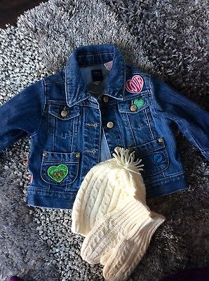 Baby Gap decorated denim jacket with M&S cable knit hat/gloves set 12-18m