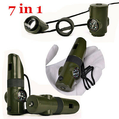 7in1 Survival Whistle Compass Thermometer LED Flashlight Fire Magnifier Mirror