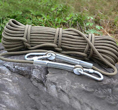 10M Army Green Tree Rock Climbing Rescue Auxiliary Rope Cord & 2 Carabiners Gear