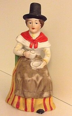 Ornament / figure of Welsh Lady sat drinking from a cup