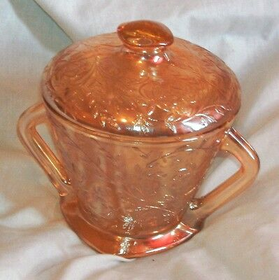 Jeannette Glass Co. Floragold Louisa Sugar Bowl With Lid In Very Good Condition